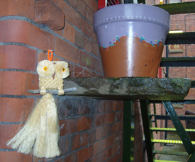 Mother macrame owl by plant pot nest 28 July 2009