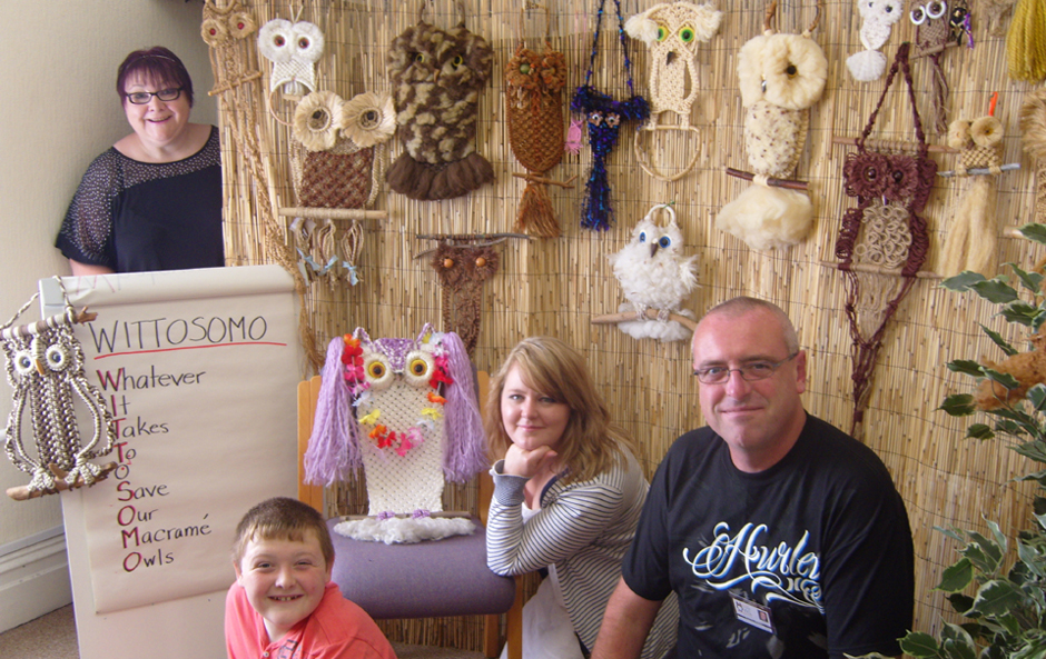 Our core team with a group of Macramé Owls