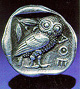 owl symbol of Athena on Greek coin 80w